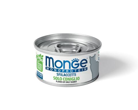 купить Monge Cat Monoprotein Only Rabbit хлопья (волокна) для кошек из кролика 80г