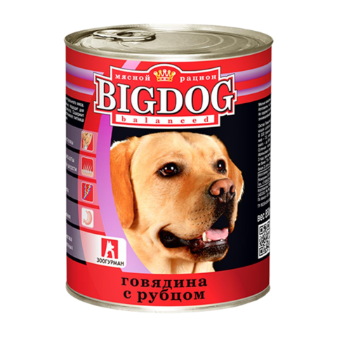 Зоогурман Big dog Консервы для собак с говядиной и рубцом (Банка)