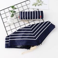 Японский плоский маленький зонт фирмы Yoco с защитой от солнца (синий в белую полоску)