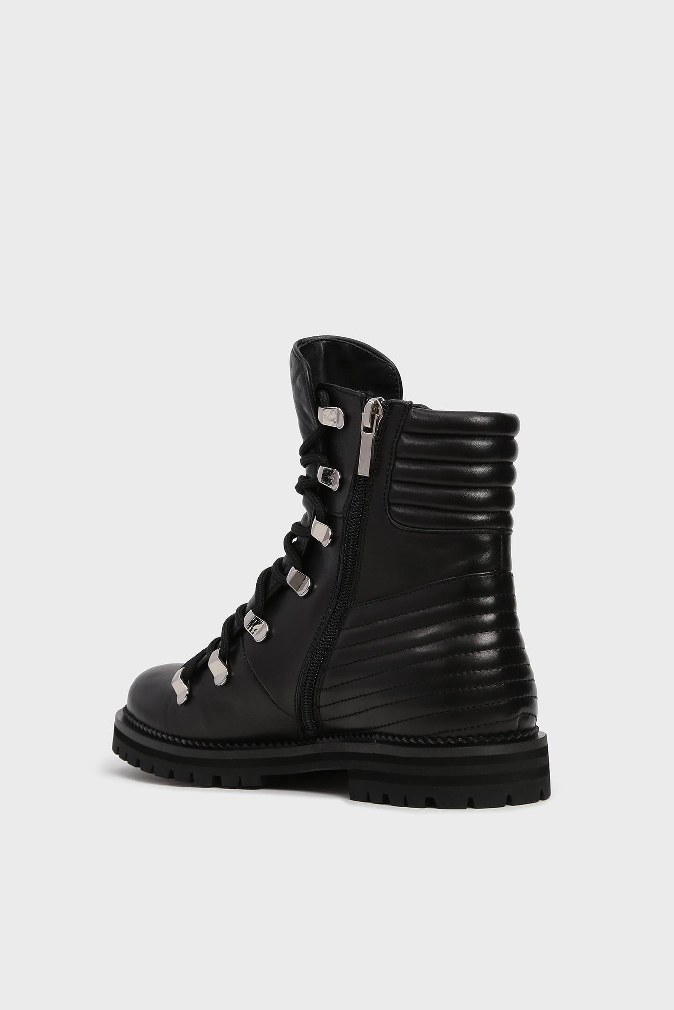 Женские черные кожаные ботинки Deineeris Preppy