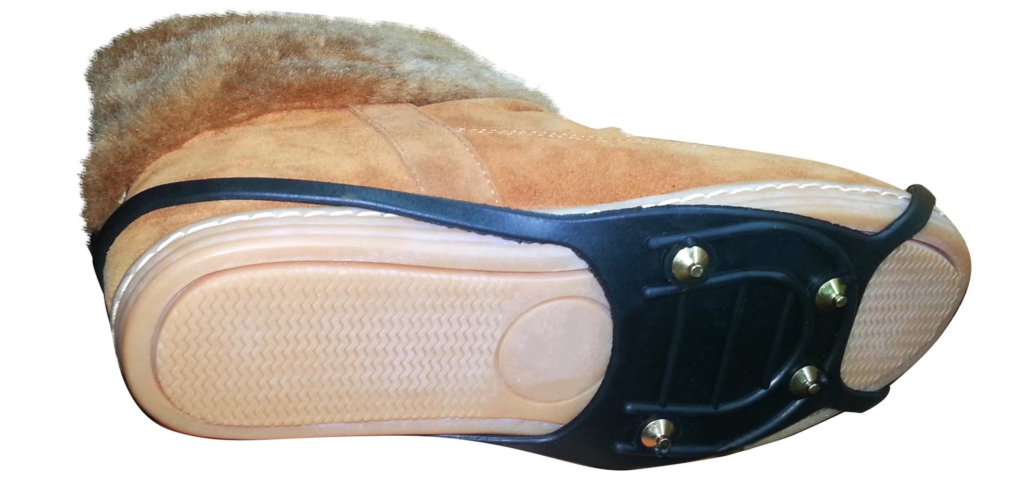 Накладки на обувь в слякоть, гололед и сугробы на 4 шипах-гвоздиках
