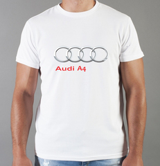 Футболка с принтом Ауди A4 (Audi A4) белая 0058