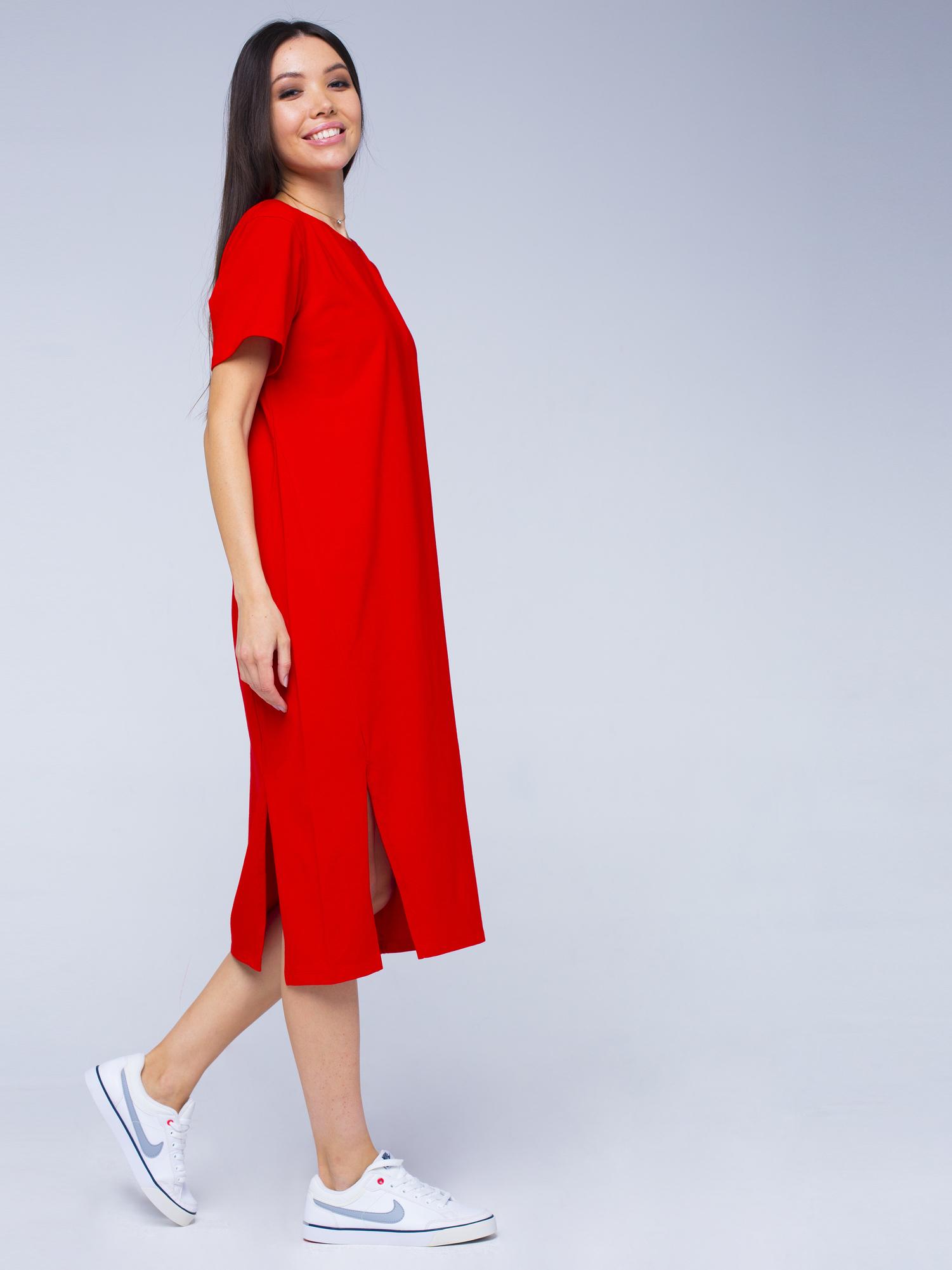 Платье хлопковое красное