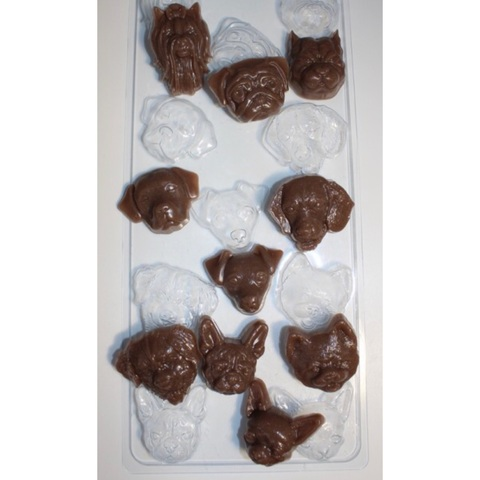 Пластиковая форма для шоколада бол. Собачье Ассорти (размер одной фигурки 40х55мм)