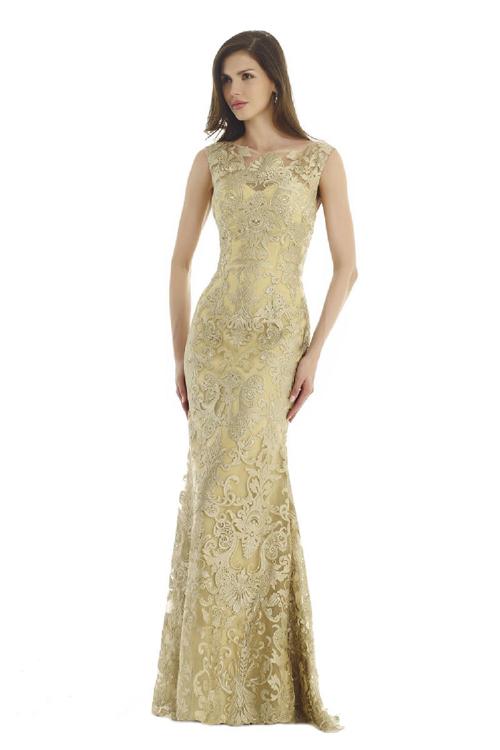 Diana 1541 Платье длинное расшитое золотым кружевом