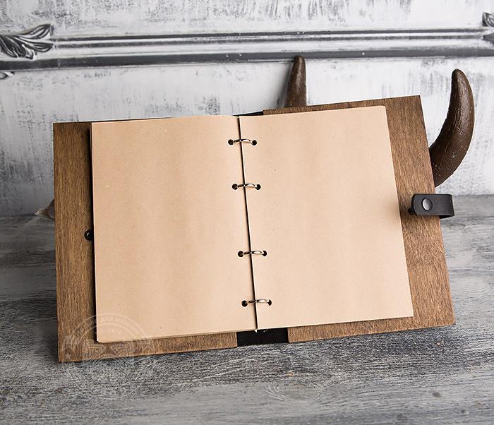 BC126-2 Деревянный блокнот ручной работы со сменными листами фото 07