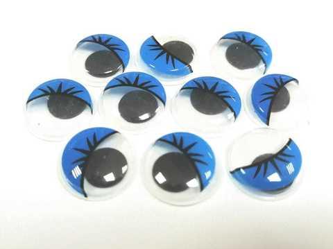 Бегающие глазки синие,  15Х15мм, пластмассовые. 1уп-10шт. (1244)