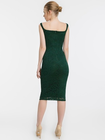 Кружевное платье-футляр на бретелях, изумрудного цвета 2
