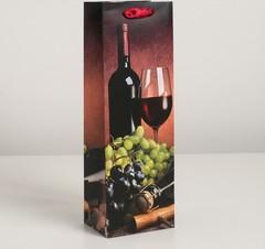 Пакет ламинированный под бутылку, Вино 12 х 9 х 36 см, 1 шт.