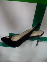 Женские босоножки с закрытым носком. Черные босоножки лодочки на шпильке. Замшевые босоножки туфли с открытой пяткой El Passo - Black Suede.