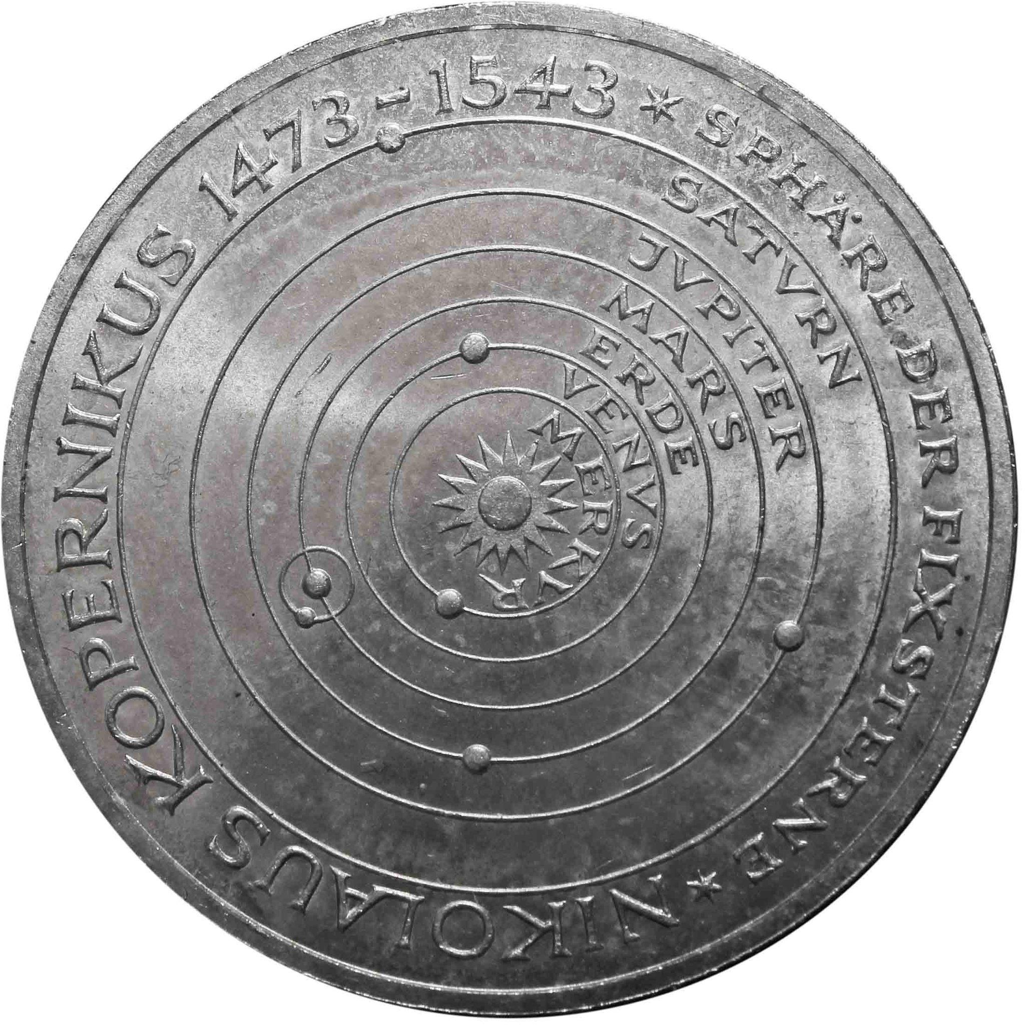 5 марок. 500 лет со дня рождения Николая Коперника. Германия. (J). Серебро. 1973 год. AU