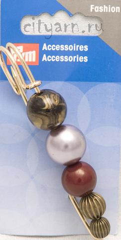 Булавка декоративная, Prym, золотистая с 5 разноцветными бусинами, размер 7 см