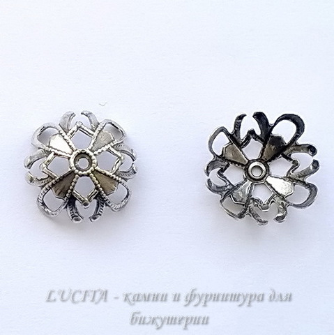 Винтажный декоративный элемент - шапочка 13х6 мм (оксид серебра) ()