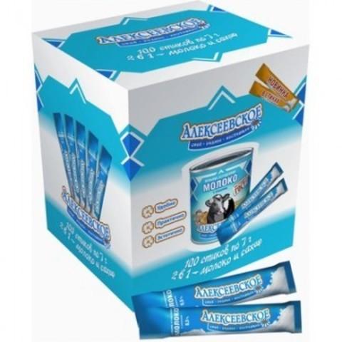 Молоко сгущенное порционное с сахаром Алексеевское 8.5% в стиках по 7 г (100 штук в упаковке)