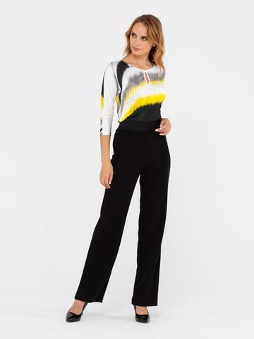 Фото черные прямые свободные брюки с широкой резинкой и карманами - Брюки А441-563 (1)