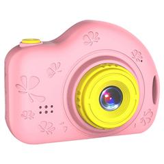 Детский цифровой фотоаппарат розовый с цветами