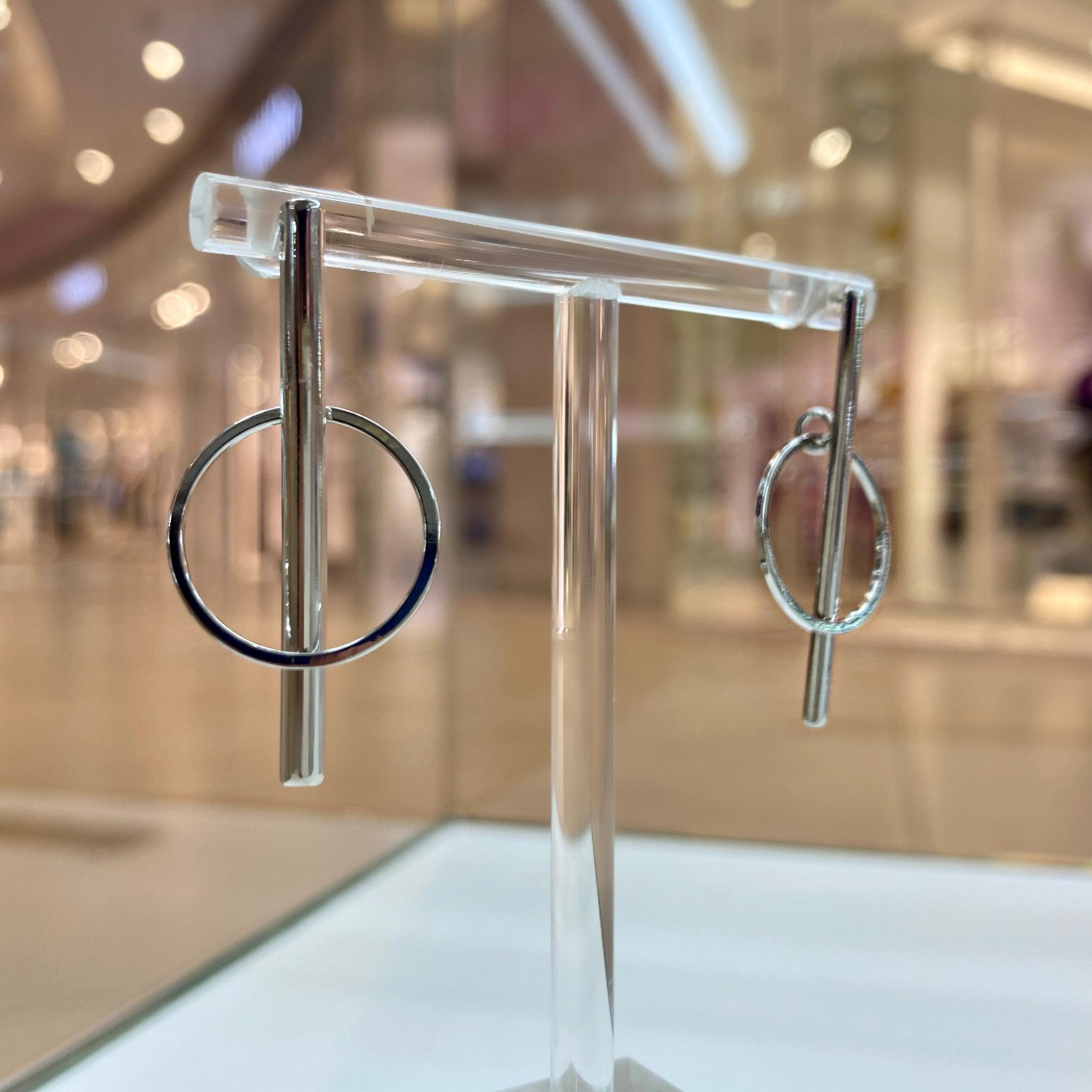 Серьги-палочки с динамическим колечком (серебристый)