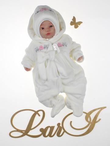 Велюровый комбинезон для новорожденных Бантик (кремовый)