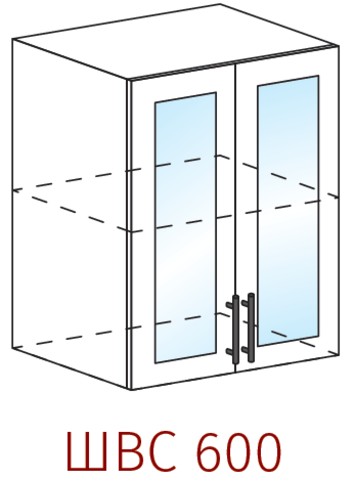 Шкаф верхний со стеклом 600