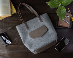 Войлочная сумка Gmakin Vella серая с коричневым кожзамом