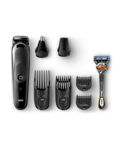 Триммер Braun MGK5260 + Бритва Gillette, аккум, 6 насадок, черный