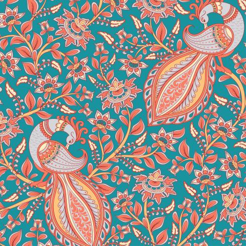 Павлины с орнаментами на ветках на бирюзовом фоне. Индийский орнамент. (Дизайнер Irina Skaska)