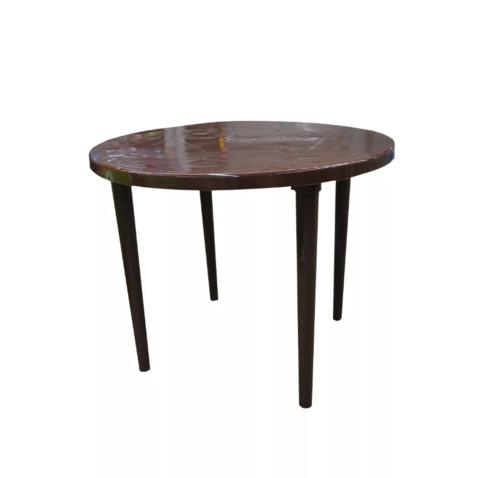 Пластиковый стол круглый шоколадный