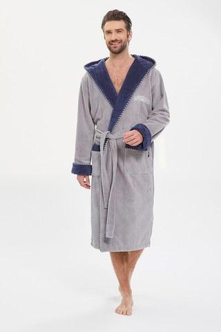 Мужской махровый халат из бамбука Lifeguard 949 серый PECHE MONNAIE