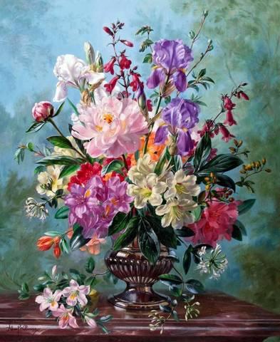 Картина раскраска по номерам 40x50 Букет разных цветов в черной вазе