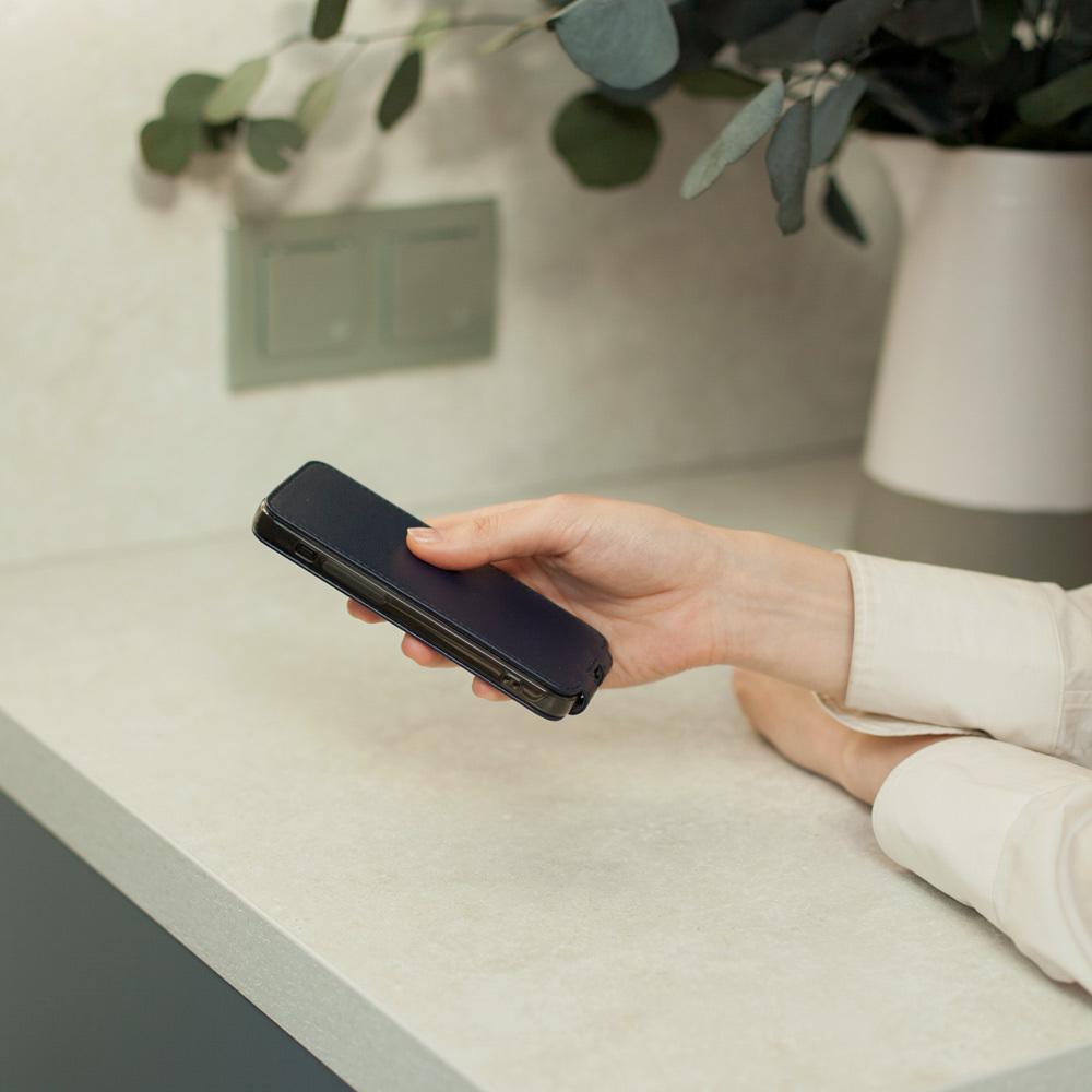 Чехол для iPhone 12 Mini из натуральной кожи теленка, цвета индиго