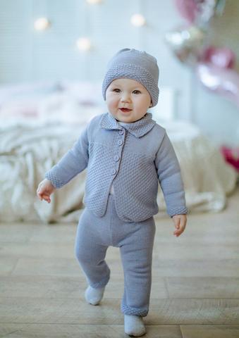 Лапушка. Комплект кофточка, штанишки и шапочка, серый