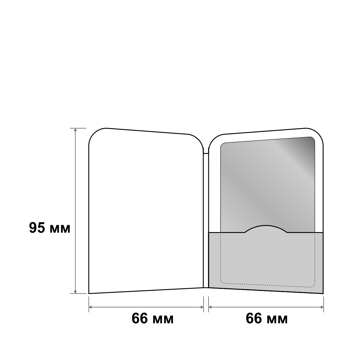 Картхолдер с корешком и овальными уголками 66х95 мм