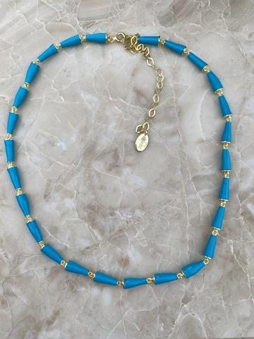 Колье Бонго голубое, позолота