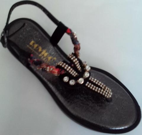 Женские сандалии босоножки через палец. Кожаные босоножки вьетнамки черные Rifellini Rovigo - Black. 36-й размер.