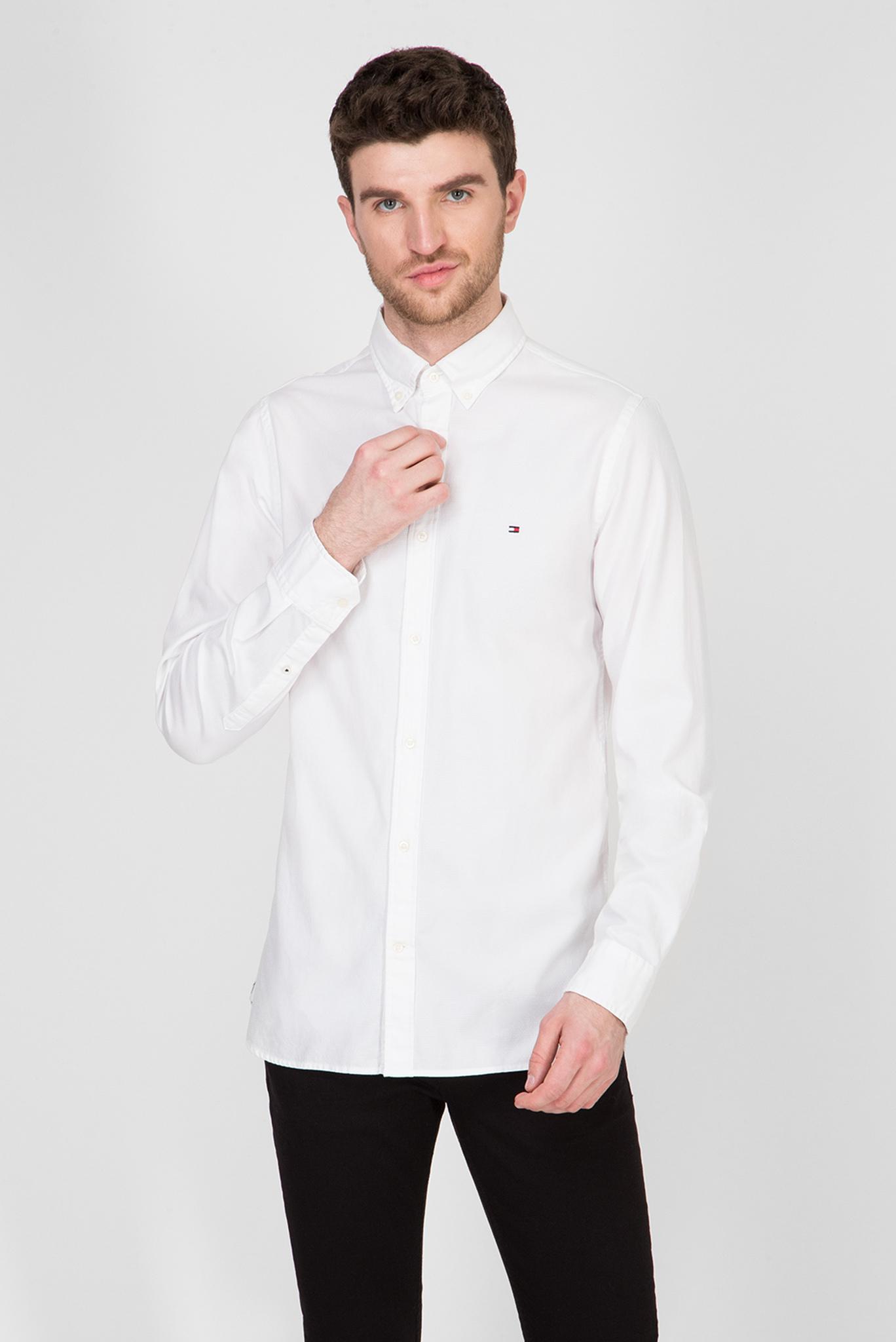 Мужская белая рубашка SLIM FLEX DOBBY Tommy Hilfiger