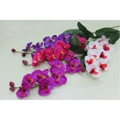 Орхидея искусственная на ветке, 8 голов с листьями, 65 см.