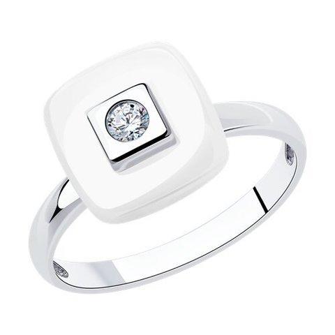 94-110-01278-2 - Кольцо из серебра с керамической вставкой и фианитом