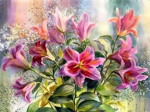Картина раскраска по номерам 40x50 Розовые лилии