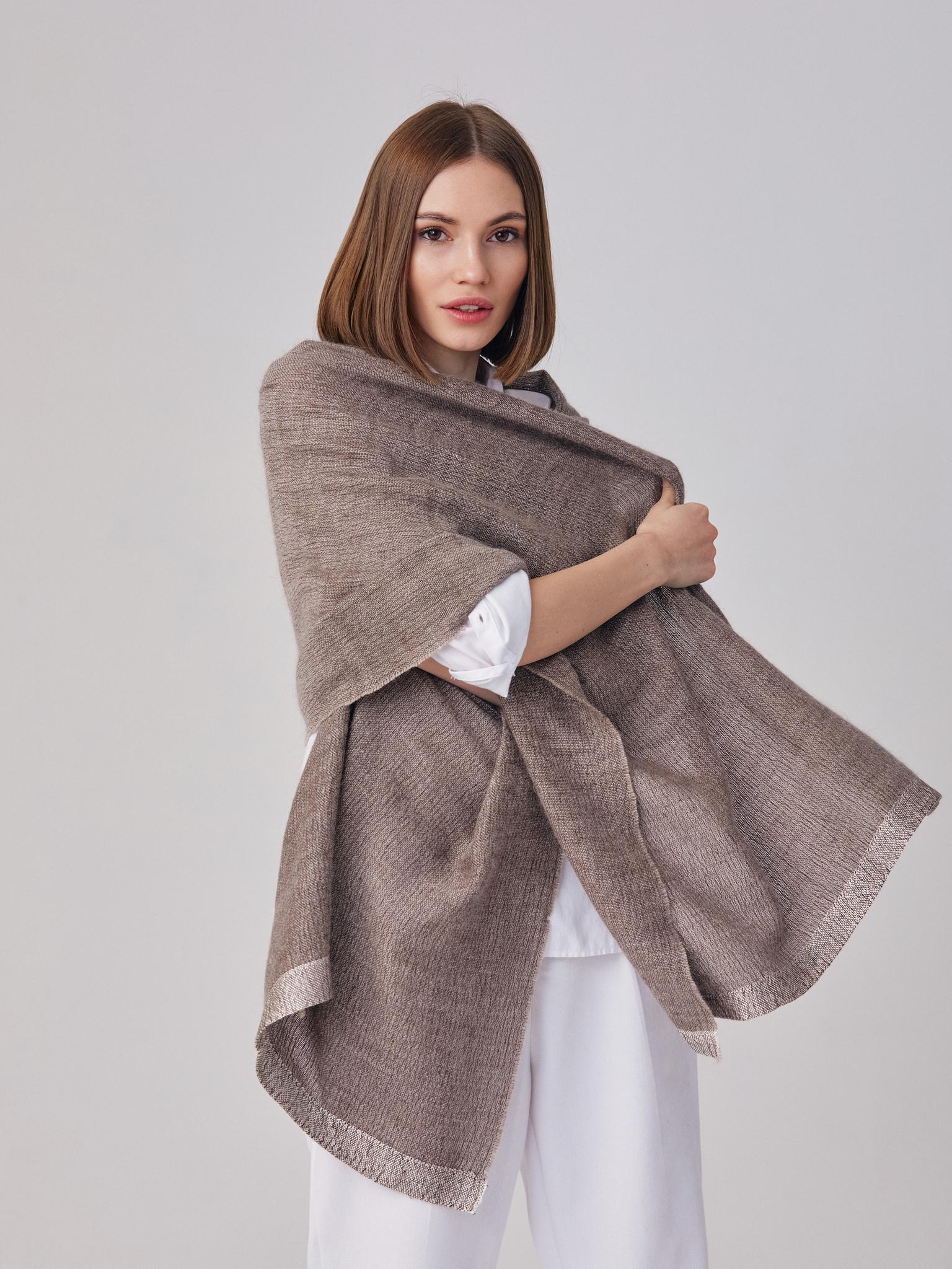 Тканый палантин из ангоры, кашемира и шелка коричневый шарф шаль