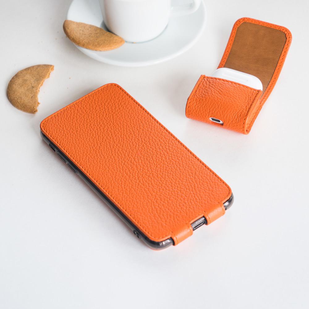 Чехол-держатель для наушников Petit Easy из натуральной кожи теленка, оранжевого цвета