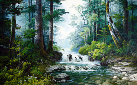 Картина раскраска по номерам 30x40 Водопад среди деревьев