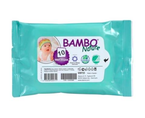 Bambo Nature. Влажные салфетки без отдушек, 1 уп/10 шт