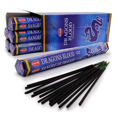 Благовония HEM Hexa DRAGON BLOOD BLUE Кровь дракона Лимон Сандал Чампака Имбирь, 20 г (20 ароматических палочек)