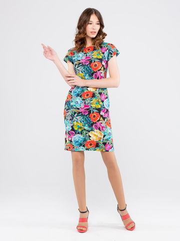 Фото прямое платье с круглой горловиной, коротким рукавом и цветочным принтом - Платье З205-266 (1)