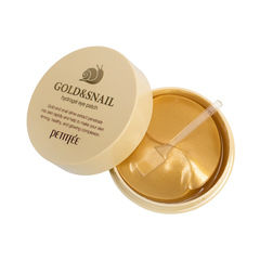 Гидрогелевые патчи для век Petitfee с золотыми частицами и фильтратом муцина улитки 60 шт