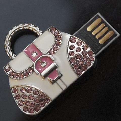 Usb-флешка в форме сумочки со стразами розового цвета jf_p_bag_rose
