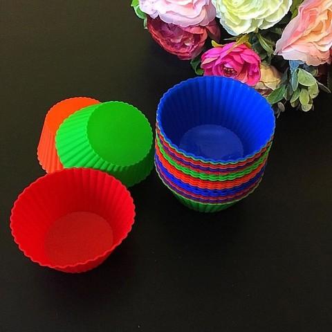 Силиконовая форма для выпечки КОРЗИНОЧКИ разноцветные 24шт
