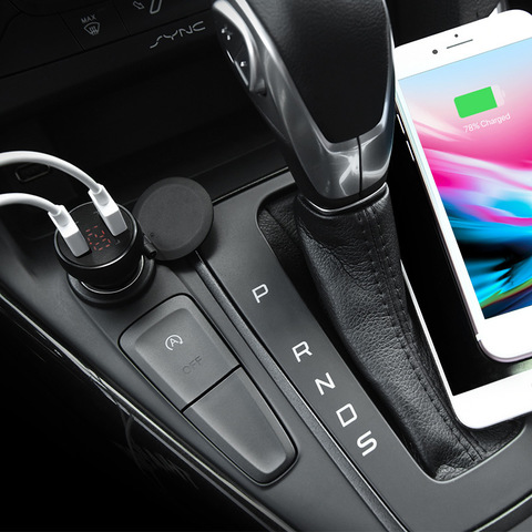 Z22 Double USB port car charger with digital display