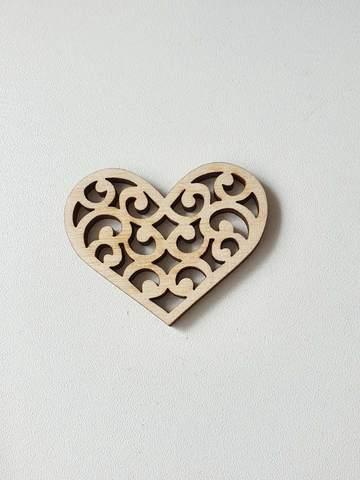 Бирка Сердце Ажурное  50 мм, дерево