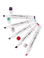 Mazari Fantasia White набор маркеров для скетчинга 24 шт двусторонние спиртовые пуля/долото 2.5-6.2 мм (цветочные)